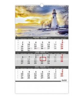 Wall calendar Coast -3 monthly /  Pobřeží - 3měsíční/Pobřežie - 3mesačné 2020