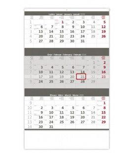 Wall calendar Grey 3 monthly / Tříměsíční šedý 2020