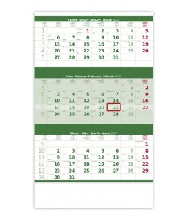 Wall calendar Green 3 monthly / Tříměsíční zelený 2020