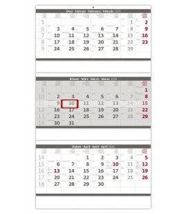 Wall calendar Grey 3 monthly - folded / Tříměsíční skládaný šedý 2020