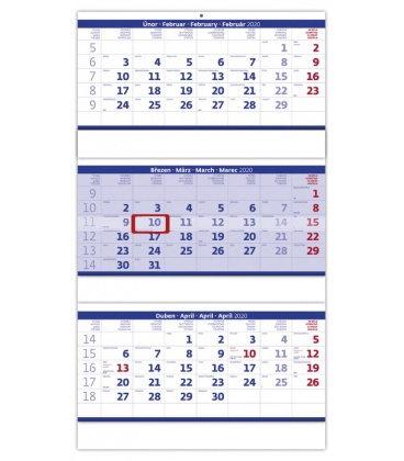 Wall calendar Blue 3 monthly - folded / Tříměsíční skládaný modrý 2020