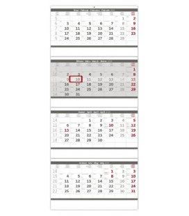 Wall calendar Grey 4 monthly - folded / Čtyřměsíční skládaný šedý 2020