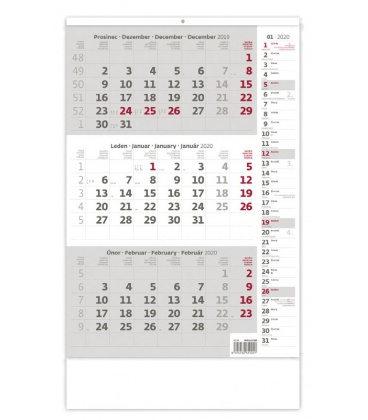 Wall calendar Grey 3 monthly with notes / Tříměsíční šedý s poznámkami 2020