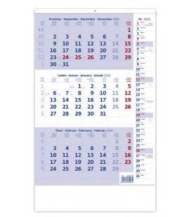 Wall calendar Blue 3 monthly with notes / Tříměsíční modrý s poznámkami 2020