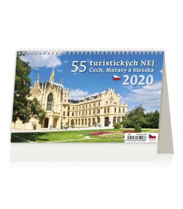 Table calendar 55 turistických nej Čech, Moravy a Slezska 2020