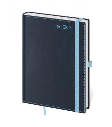 Daily Diary A5 Double Blue s poutkem na propisku 2020