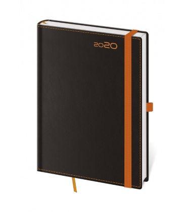 Daily Diary A5 Black Orange s poutkem na propisku 2020