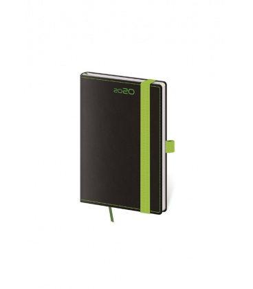 Weekly Pocket Diary Black Green s poutkem na propisku 2020