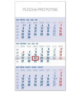 Wall calendar 3months standard blue with Czech names 2020