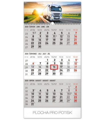 Wall calendar 3months Truck grey with Czech names 2020