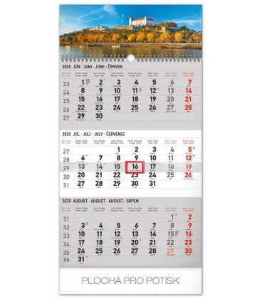 Wall calendar 3months Bratislava grey with Slovak names 2020