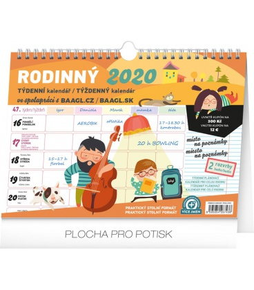 Table calendar Weekly family planner with hook 2020