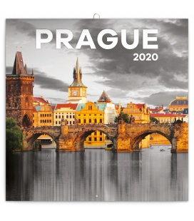 Wall calendar Prague black and white 2020
