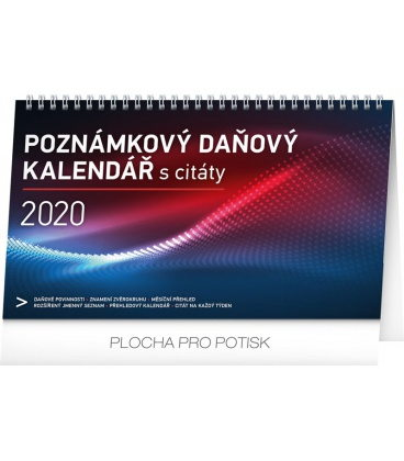 Table calendar Weekly planner with quotes 2020