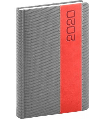 Daily diary A5 Davos grey, red 2020