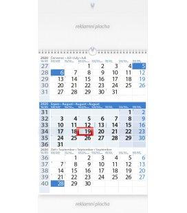 Wall calendar Tříměsíční modrý 2020