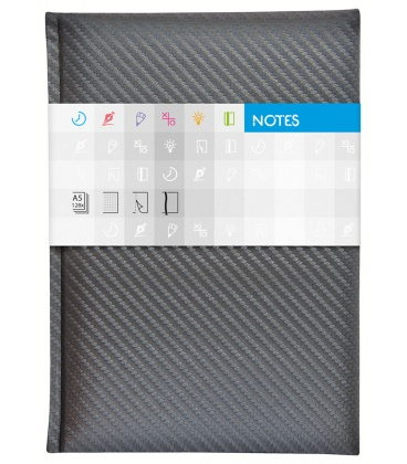 Notepad A5 Carbon lined silver 2020