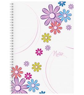 Notepad A4 with spiral Daisy - squared white 2020