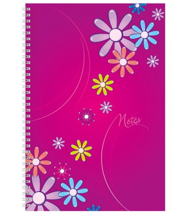 Notepad A4 with spiral Daisy - squared purple 2020