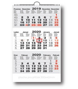 Wall calendar 3monthly working - grey 2020