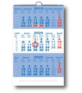 Wall calendar 3monthly working - blue 2020