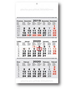 Wall calendar 3monthly working fluted - spiral - grey  2020