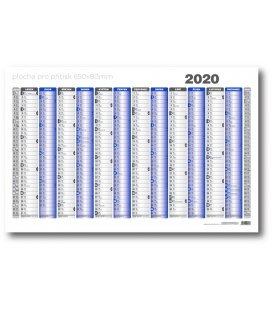 Wall calendar map A1 annual list formátu 990x678 mm, blue, grey 2020
