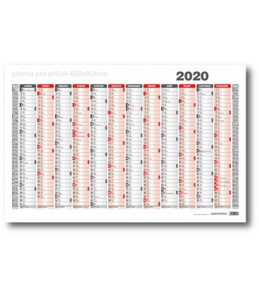 Wall calendar map A1 annual list formátu 990x678 mm red, grey 2020