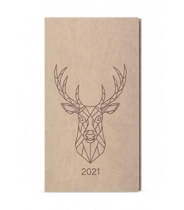 Weekly Pocket Diary - Jakub - vivella s ražbou brown - béžová - Jelen 2021