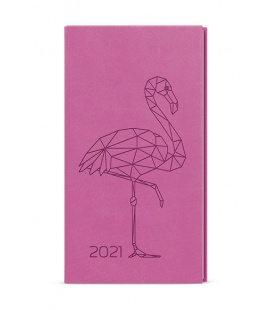 Weekly Pocket Diary - Jakub - vivella s ražbou pink - Plameňák 2021
