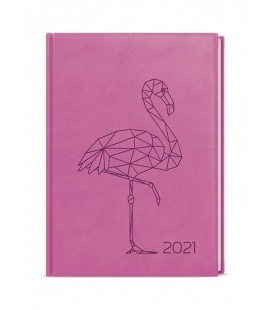Weekly Diary A5 - Oskar - vivella s ražbou pink  - Plameňák 2021
