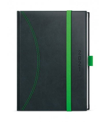 Daily Diary A5 - David - nero black, green 2021