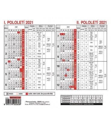 Table calendar Plánovací karta 2021
