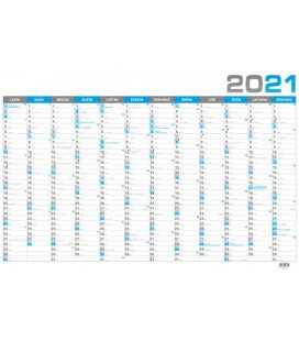 Wall calendar Yearly calendar B1 - blue 2021