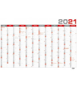 Wall calendar Yearly calendar B1 - red 2021