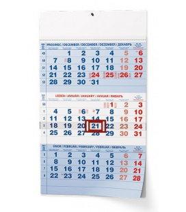 Wall calendar Tříměsíční - A3 (s mezinárodními svátky) - modrý 2021