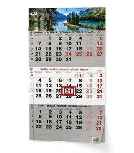 Wall calendar Tříměsíční - A3 (s mezinárodními svátky) - černý - Příroda 2021
