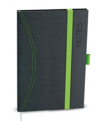 Notepad lined with a pocket A6 - nero black, green 2021