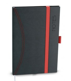 Notepad lined with a pocket A6 - nero black, red 2021