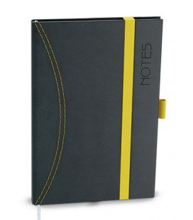 Notepad lined with a pocket A6 - nero black, yellow 2021