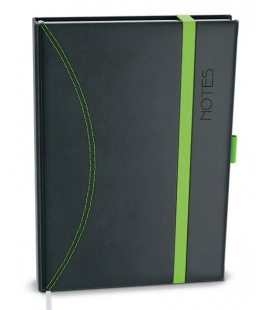 Notepad lined with a pocket A5 - nero black, red 2021