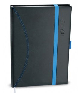 Notepad lined with a pocket A5 - nero black, blue 2021