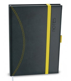 Notepad lined with a pocket A5 - nero black, yellow 2021
