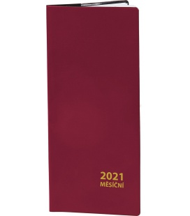Pocket diary monthly PVC - bordo 2021