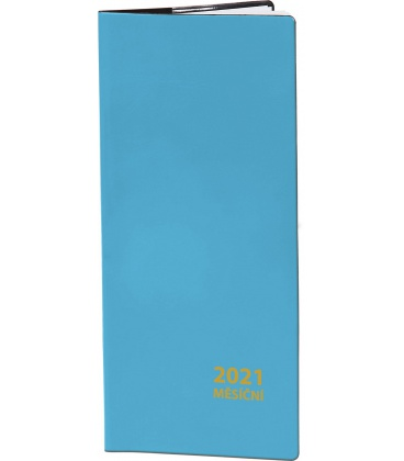 Pocket diary monthly PVC - blue 2021