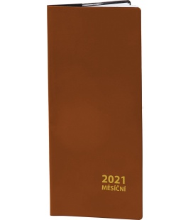 Pocket diary monthly PVC - brown 2021