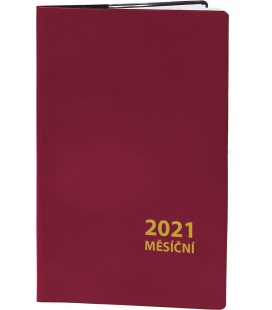 Pocket diary monthly PVC - MINI - bordo 2021