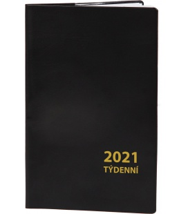 Pocket diary fortnightly PVC - black 2021