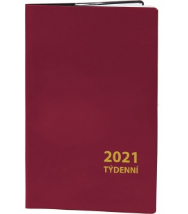 Pocket diary fortnightly PVC - bordo 2021