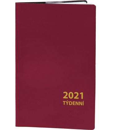 Pocket diary fortnightly PVC - bordo 2021